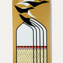 Korowai and geese at Marischal Museum Aberdeen Oil on shaped canvas 500 x 1195mm
