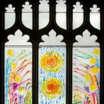 Tears for the return home of the Toi Moko Three window panels Glass paint on perspex 2000 x 730mm Marischal College University of Aberdeen